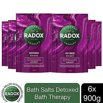 Radox Bath Salts Detoxed Bath Therapy, Acai Berry, 6 Packs of 900g
