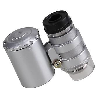 Mini 60x Handheld Pocket Microscope Loupe Jeweler Magnifier With LED Light Glass