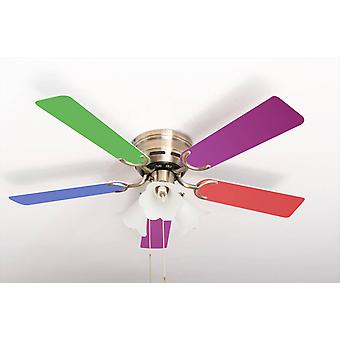 Ceiling fan Kisa Multicolor / Antique Brass with lights
