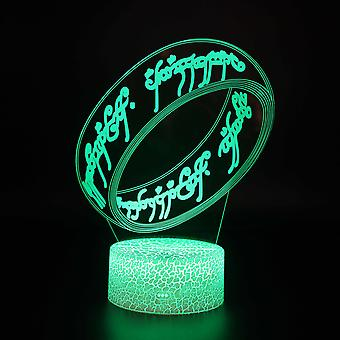 3D Optisk illusionslampa LED Nattljus, 7 färger Touch Sänglampa Sovrum Bord Art Deco Barn Nattljus med USB-kabel Nyhet Julklapp Födelsedag Present-Kärlek # 332