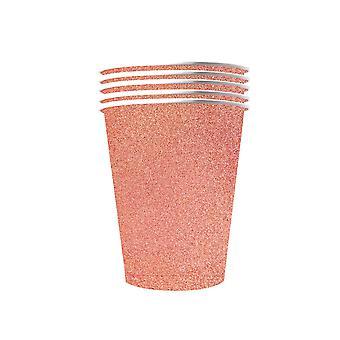 10 Amerikaanse Glittering Cups Recyclebaar Karton Roze Goud 53cl
