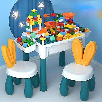 Multi-Function Building Blocks Table With One Chairs Small and Big Particles Baseplate Desk DIY Children Toy Kids Gift