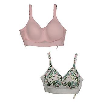 Rhonda Shear Women's Plus 2-pack Molded Cup Bra Mesh Back Pink 732406