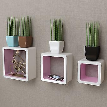 Sarja 3 MDF seinähyllyn ripustushyllyn kuutiohyllyä kirjoille / DVD: lle, valkoinen-vaaleanpunainen