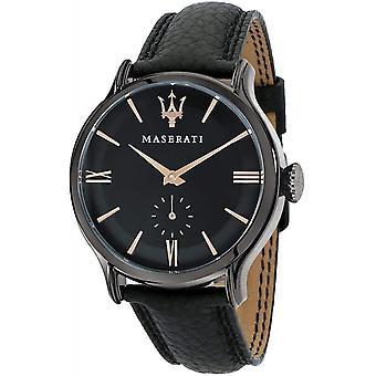 Maserati R8851118004 Men's Epoca Black Leather Strap Wristwatch