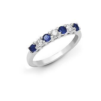Jewelco London 18ct White Gold 4 Claw Set Round H SI 0.2ct Diamond and Round Blue 0.4ct Sapphire Half Eternity Ring 3mm
