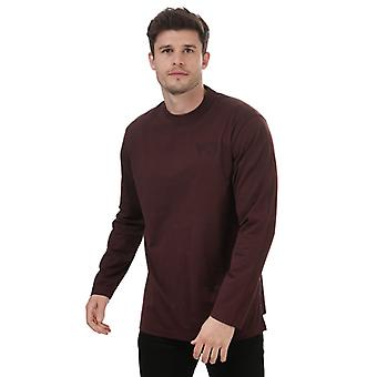 Men's Y-3 Classic Logo Long Sleeve T-Shirt in Red