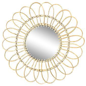 Daisy Rattan Wall Mirror Flor Redonda Colgante Boho Mirror Frame 59cm Marrón