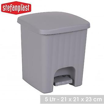 Square Bathroom Kitchen Pedal Bin 5L Light Grey