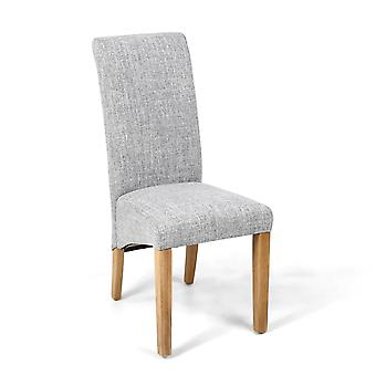 Karma Scroll Flax Effect Grey Weave Chair