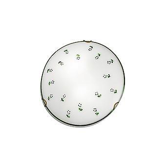 Kolarz MOON - Cottage Stijl Glas Patroon Flush Plafondlamp Antiek Messing, 1x E27