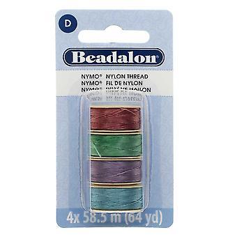 "Nymo Nylon Bead Thread Variety Pack, Size D / 0.30mm / .012"", Four 64-Yard Spools, Light Gem Tones"