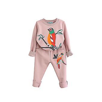 7T bird patterns girls clothing sets autumn winter toddler kids tracksuit cai668