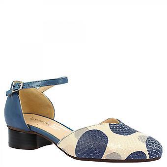Leonardo Shoes Talons bas faits à la main pour femmes pompe des chaussures en cuir de veau blanc et bleu avec motif de point