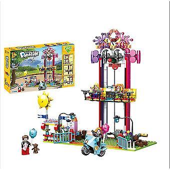 692007# Eğlence parkı dönme dolap jumper serisi monte edilmiş yapı taşları çocuk oyuncakları az1309