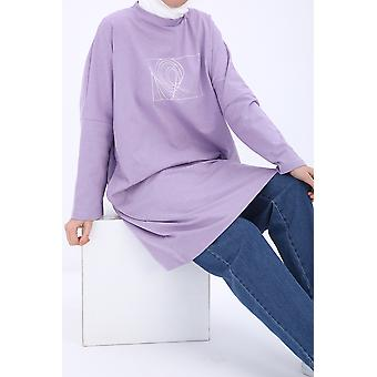 Printed Comfy Sweatshirt Tunic