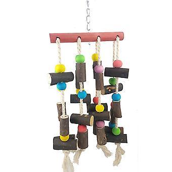 מחרוזת גדולה של צעצועי ביס עץ כותנה חבל לנשוך יומני מחרוזת תלוי צעצוע תוכי