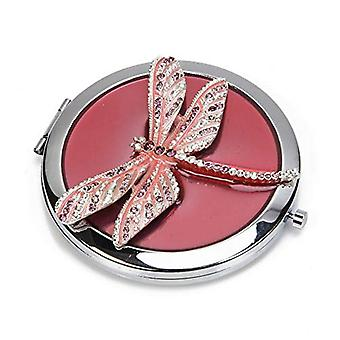 Sophia Pink Crystal Dragonfly Compact Mirror