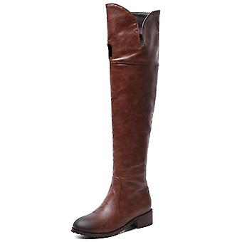 Winter Warm Long Boots, Microfiber Leather Knee Boots