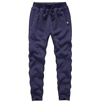 Yunyun Men's Trousers Drawstring Tied Casual Soft Solid Color Pocket Pant With Fleece