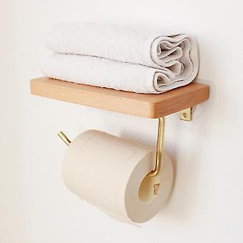 Houten papieren handdoek rack massief messing tissue papier opslag houder punch gratis (bruin)