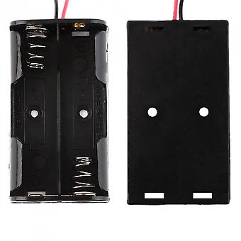 Plastic Battery Storage Case Box Holder For 2-aa Battery With 6'' Cable Lead