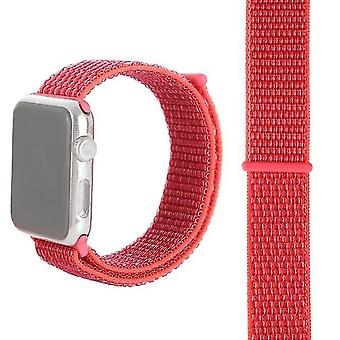 Fashion nylon watchband with magic wand For Apple Watch series 3 & 2 & 1 42mm (Red Rose)