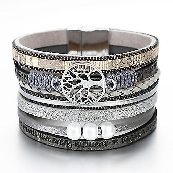 Tree Of Life Charm Pearl Leather Bracelets(Gray)