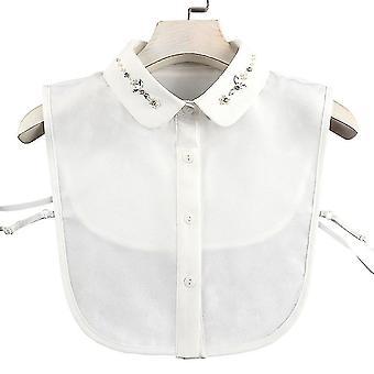 plomme anti krøll halv skjorter broderi falsk krage rhinestone avtakbar bluse