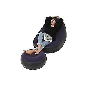 Надувной диван для отдыха Кресло и подножка Открытый складной шезлонг Диван Флокирование Ленивый диван (СИНИЙ)