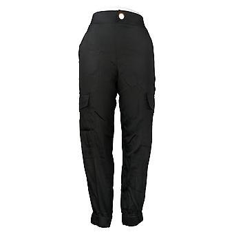 IMAN Global Chic Women's Pants Cargo Jogger Pull On Ankle Black 742552