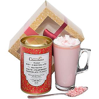 Martin's Chocolatier Hot Chocolate Gift Set (Strawberry) | Drinking Chocolate Made with Belgian Chocolate Shavings | Includes Glass and Marshmallows