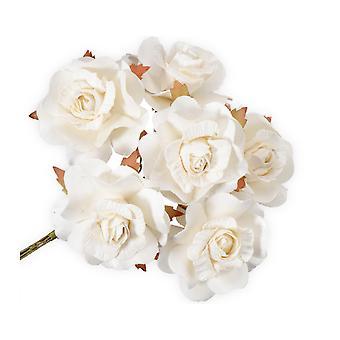 SISTE FÅ - 36 store hvite papir åpne roseblomster