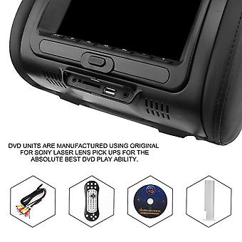 """2pcs Universal 7"""" Headrest Car Dvd+av Player Black Monitors Fm Transmitter"""