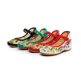 Women's Chinese Retro Ethnic Embroidery Low Heel Flat Elevator Cheongsam Dress Shoes Drawing Dragon