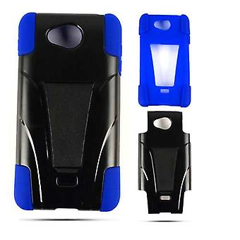 Unlimited Cellular Hybrid Fit On Jelly Case for LG Spirit 4G MS870 (Turquoise Skin & Black Snap with Stand)