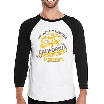 夏サーフィン カリフォルニア メンズ 3/4 スリーブ型のベースボール t シャツ