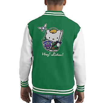 Hey Listen Link Hello Kitty Zelda Kid's Varsity Jacket