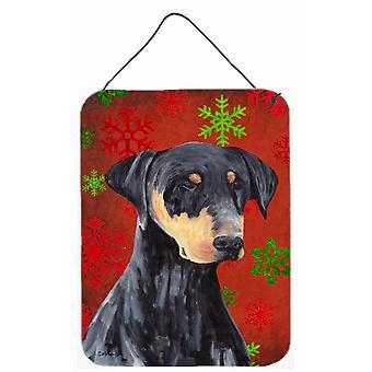 Dobermanni punainen ja vihreä lumihiutaleet Holiday joulua Wall tai ovi roikkuu tulostaa