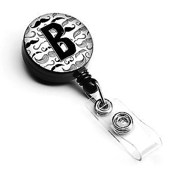 Letter B Moustache Initial Retractable Badge Reel