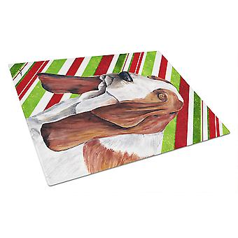 Basset Hound Candy Cane Holiday Christmas Glass Cutting Board Large