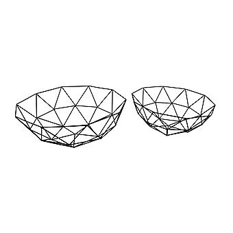 2 Piece Open Work Abstract Geometric Basket Set