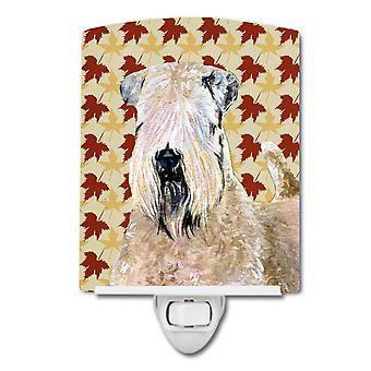 Wheaten Terrier Soft Coated Fall Leaves Portrait Ceramic Night Light
