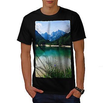 Mountain Scenery Men BlackT-shirt | Wellcoda