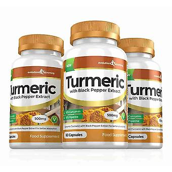 Turmeric 95% Curcumin and Black Pepper Extract 500mg - 180 Capsules - Fat Burner - Evolution Slimming