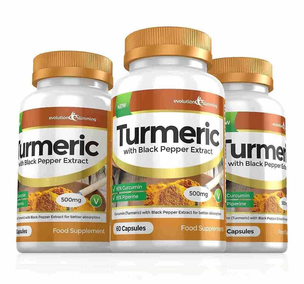 Turmeric 95% Curcumin and Black Pepper Extract 500mg - 180 Capsules - Fat Burner - Evolution Slimming