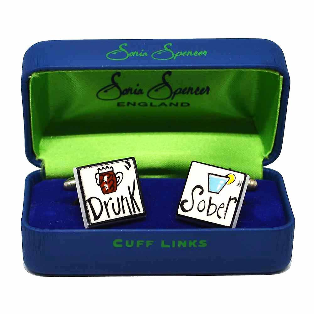 Drunk/Sober Cufflinks by Sonia Spencer, in Presentation Gift Box. Hand painted