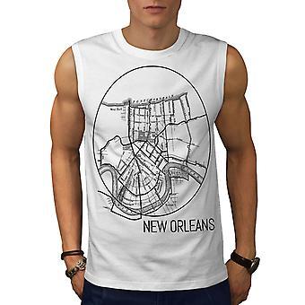 Amerika-New Orleans-Männer-WhiteSleeveless-T-shirt | Wellcoda