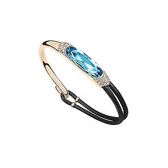 Leather bracelet adorned with Blue Swarovski crystals 2917