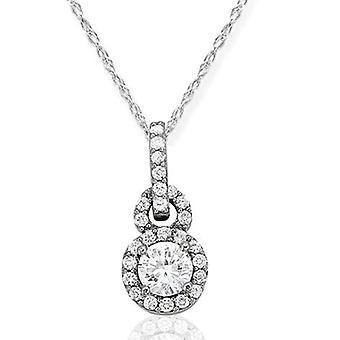 1 3/8 ct ダイヤモンド ソリティア ハロー ペンダント 14 K ホワイトゴールド